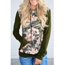 Color Block Floral Pattern Panel Long Sleeve Hoodie