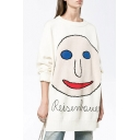 Smile Face Pattern Round Neck Long Sleeve Longline Pullover Sweater