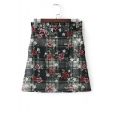 New Collection High Waist Fashion Floral Pattern Mini A-Line Skirt