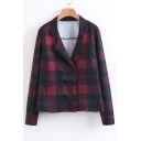 Classic Plaids Pattern Long Sleeve Notched Lapel Collar Double Breasted Blazer Coat