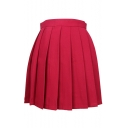 Simple Plain High Waist Pleated Short Skirt