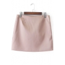 High Waist Zip Up Side Basic Simple Plain Mini A-Line Skirt