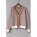 Long Sleeves Gingham Print Color Block Stripe Hem Button Front Cardigan