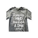 New Fashion Color Block Letter Print Round Neck Short Sleeve Top