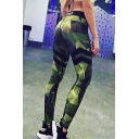 Hot Fashion Letter Print Color Block Skinny Workout Pants