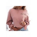 Hot Fashion Simple Letter Tie Cuff Round Neck Long Sleeve Pullover Sweatshirt