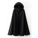 New Arrival Simple Plain Hooded Open Front Longline Cape