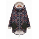 Color Block Plaid Pattern Hooded Contrast Cuff Zippered Long Sleeve Cotton Coat