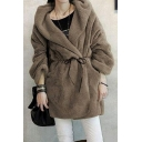 Simple Plain Collared Open Front Long Sleeve Wool Coat