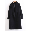 New Stylish Notched Collar Long Sleeve Simple Plain Tunic Coat