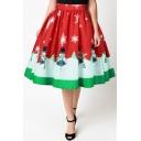 High Waist Christmas Snowman Pattern Midi A-Line Flared Skirt