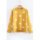 Round Neck Long Sleeve Fashion Polka Dot Pattern Pullover Sweater