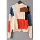 Fashion Asymmetrical Color Block Mock Neck Long Sleeve Comfort Sweater