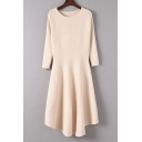 Basic Plain Long Sleeve Round Neck Midi A-Line Chic Knit Dress