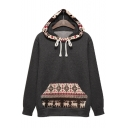 New Stylish Tribal Print Drawstring Hood Long Sleeve Hoodie