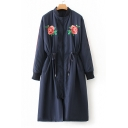 Chic Embroidery Floral Pattern Stand-Up Collar Drawstring Waist Tunic Coat