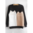 New Stylish Cartoon Cat Pattern Round Neck Long Sleeve Pullover Sweater