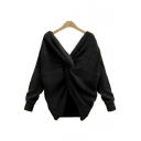 New Fashion Plain V-Neck Crisscross Back Long Sleeve Pullover Sweater