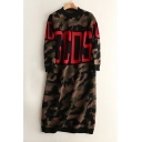Fashion Camouflage Pattern Round Neck Long Sleeve Tunic Comfort Sweater