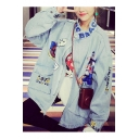Color Block Letter Patchwork Stand-Up Collar Denim Coat in Loose Fit