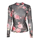 Floral Pattern Crew Neck Long Sleeve Sheer Mesh Top
