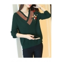 New Stylish Floral Embroidered V Neck Long Sleeve Casual Loose Sweater