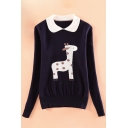 Fashion Animal Print Peter Pan Collar Long Sleeve Pleated Front Pullover Sweater