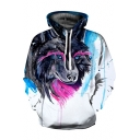 Chic 3D Wolf Print Color Block Drawstring Hood Long Sleeve Hoodie for Couple
