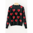 New Stylish Lighting Heart Shape Pattern Round Neck Long Sleeve Pullover Sweater
