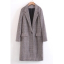 Fashionable Single Button Notched Lapel Classic Plaid Tunic Coat