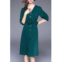 Chic V-Neck Half Sleeve Buttons Down Tie-Up Waist Midi Shirt Dress