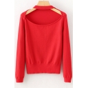 New Fashion Halter Neck Long Sleeve Hollow Out Simple Plain Sweater