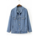 New Collection Plain Lapel Collar Long Sleeve Buttons Down Denim Jacket