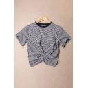 Contrast Round Neck Striped Knot Front Short Sleeve Tee