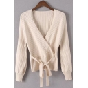 V-Neck long Sleeves Textured Tie Front Solid Knitted Sweater