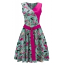 New Stylish Vintage Print Patchwork Belted Waist V-Neck Sleeveless A-line Dress