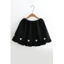 New Stylish Embroidery Heart Shape Elastic Waist Ruffle Hem Mini Skirt