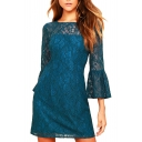 Chic Floral Lace-Up Round Neck Ruffle Hem 3/4 Length Sleeve Mini A-Line Dress
