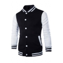 Color Block Stand-Up Collar Long Sleeve Baseball Coat