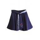 New Fashion Color Block Striped Elastic Waist A-Line Mini Skirt