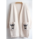 New Fashion Bear Embroidered Open Front Long Sleeve Cardigan with Pockets