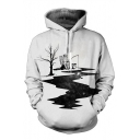 New Fashion Fishing Astronaut Print Long Sleeve Leisure Casual Hoodie with Pockets