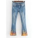 Zip Fly Ripped Detail Fire Print Jeans Faded Flared Jeans