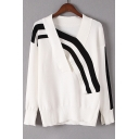 Color Block Striped Pattern Long Sleeve V Neck Pullover Sweater
