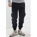 Military Style Letter Print Elastic Cuff Pants with Pockets