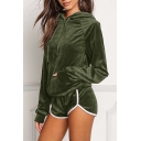 Leisure Plain Long Sleeve Velvet Hoodie with Contrast Trim Sports Shorts