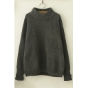 New Stylish Solid Round Neck Drop Sleeve Roll Cuff Boxy Pullover Sweater