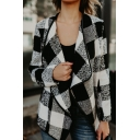 Chic Color Block Lapel Plaid Long Sleeve Coat
