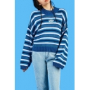 ClassiC Retro Striped Round Neck Long Sleeve Pullover Sweater