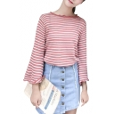 New Fashion Striped Pattern Round Neck Trumpet Long Sleeve Sweater